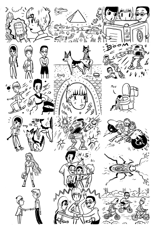 Chapter Illustrations for Kid's book 'Time in'