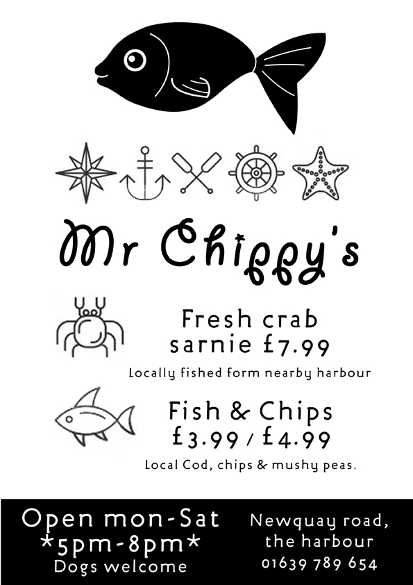 Menu design for Mr Chippy's