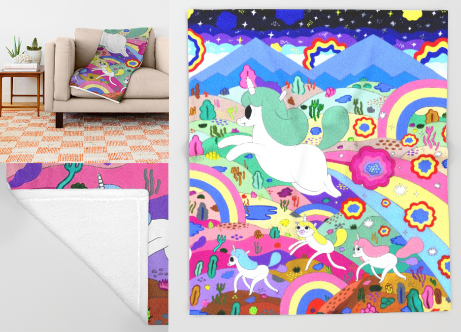gary-the-farting-unicorn-throw-blankets